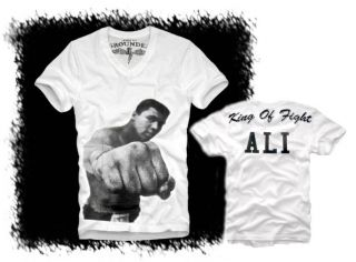 E1SYNDICATE V NECK T SHIRT MUHAMMAD ALI (L) CASSIUS CLAY BOXEN BOXING