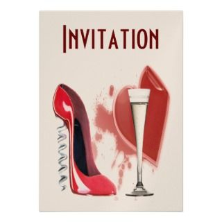 Shoe, Champagne Flute and H Personalized Invites