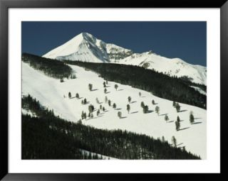 Elevated view of slope at Big Sky Ski Resort Print by Raymond Gehman