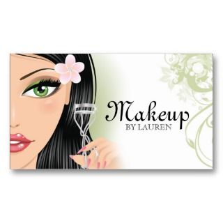 Makeup Artist Eyelash Curler Green Business Cards