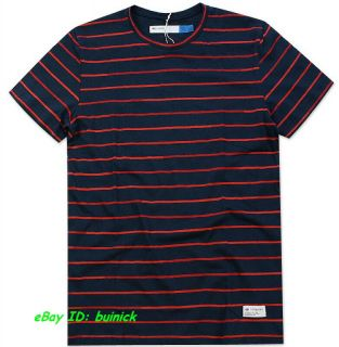 ADIDAS A.039 BLUE LABEL STRIPES TEE SHIRT Navy Red trefoil new L