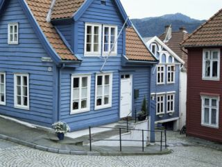 Wooden Houses in Central Bergen, Bergen, Western Fjords, Norway, Scandinavia Photographic Print by Gavin Hellier