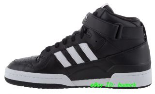 ADIDAS FORUM MID LEATHER Black White hip hop new UK7.5