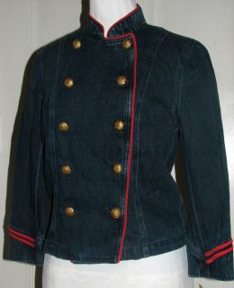Lauren Gramercy Navy Denim Military Jacket Brass Buttons Juniors M 149