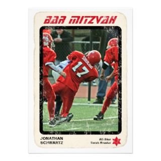Sports Star Bar Mitzvah Invitation, Red