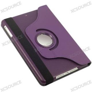 360 Rotating Purple Leather Case Cover Pouch Stand for iPad Mini