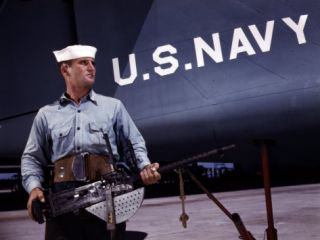 Sailor Holds a .30 Caliber Machine Gun at the Naval Air Base, Corpus Christi, Tx, 1942 Posters