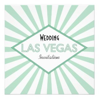 Las Vegas Marquee Green Wedding Invitation