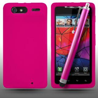 Hot Pink Silicone Case für Motorola Razr Droid + Stylus & Screen