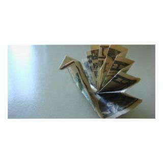 Money Origami Turkey Side Photo Card