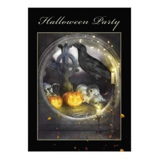Mystical Raven Spooky Halloween Party Invitation