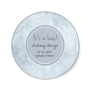 Blue Baby Its a Boy Birth Announcement Sticker