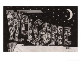 1905 Welcome Vintage Font and Womens Faces Print
