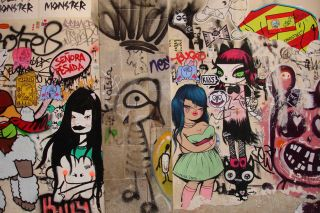 Miss Van  Barcelona Spain Graffiti Urban street art  24x36 Canvas Art