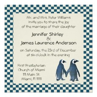 Penguin Couple Wedding Invitation