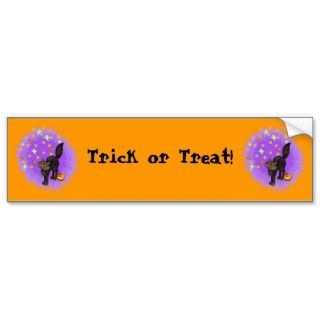 Trick or Treat Cute Black Cat Halloween Fireworks Bumper Stickers