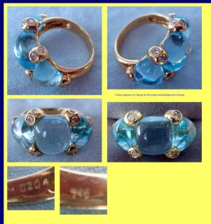 Ring Gold Blue Topaz Diamond 1960s Modern Pomellato (4401)