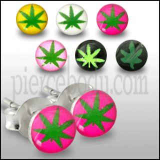 Body Jewelry 100Pair Silver Marijuana Logo Earrings
