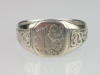Art Deco Herren Damen Siegel 800 Silber Ring,eigraviert,AntikRG.61