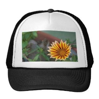 Yellow Red Flower With Green Leaf Trucker Hats