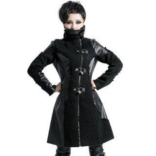 Jacke Mantel mit Leder und Strick von Punk Rave Rocker Gothic V Kei