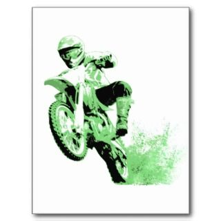 Dirt Bike Wheeling in Mud (Green) Post Cards