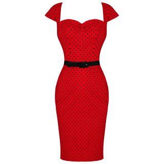 Damen Kleid Rotes Punktemuster 50s Vintage Arbeitskleid Hell Bunny