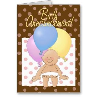 Baby birth announcement greeting cards.