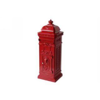 Briefkasten Stand rot Alu Guß 102 cm Garten