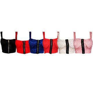 Damen Shirt Top Blumen Spitze Reißverschluss BoobTube BH Bralet Gr 36