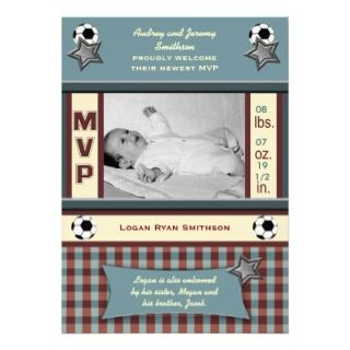 MVP Soccer Baby Birth Announcement