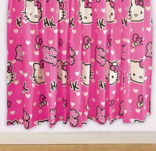 Hello Kitty Gardinen Paar Hearts 183x168 2 Stück Vorhänge