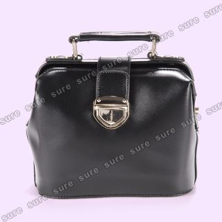 Chic Vintage Style Black PU Leather Doctor Handbag Shoulder Bag Hard