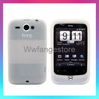 NEW CLEAR WHITE SILICONE CASE COVER SKIN HTC WILDFIRE