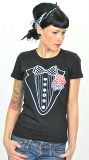 KM193   Küstenluder ROSE Smoking SHIRT T Shirt Rockabilly Emo