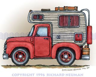 189 Pickup Truck Camper RV Print Wall Decor Art Camping