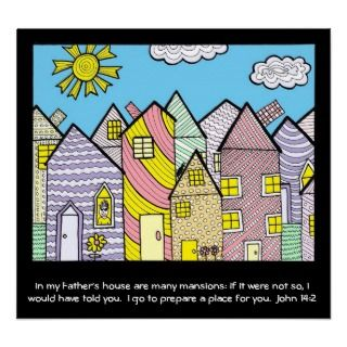 Child like drawing of houses with Bible verse. Any funds will go to a