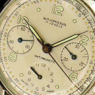 Wakmann 865 Premier Tricompax Venus 178 seltene Herrenuhr aus 1945