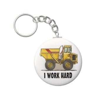Work Hard Big Dump Truck Key Chain