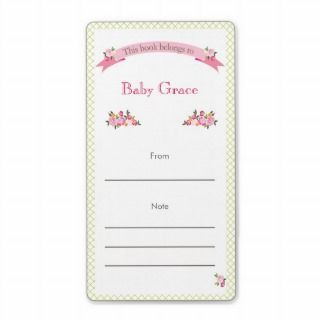 Green and Pink Floral Bookplate Personalized Shipping Labels
