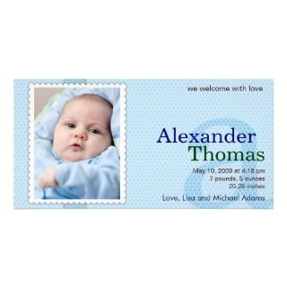 Baby Boy Birth Announcement   A Personalized Photo Card