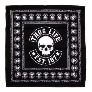 Thug Life Est.187 Bandana Black Totenkopf Skull Durag Tuch Schwarz