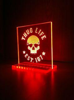 Thug Life, Leuchtschild, Led, Est.187, 2Pac, Weihnachtsgeschenk, Thug
