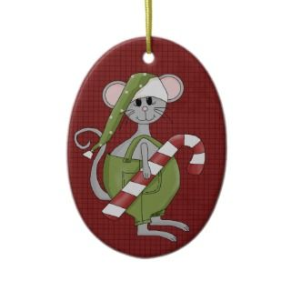 Christmas Mouse Ceramic Christmas Ornament