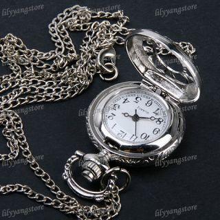Antique Silver Flower Hollow Round Quartz Pocket Watch Necklace Chain