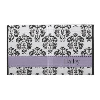 Purple Black Damask iPad Folio Case Cover