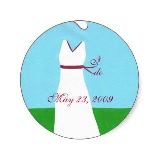 Save the date stickers, wedding dress, red trim