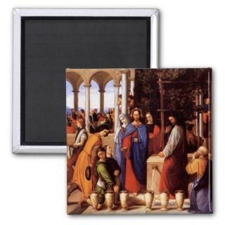 Jesus turns water into wine (wedding at Cana) Fridge Magnets