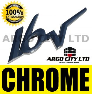 CHROME 16V BADGE SILVER 3D EMBLEM DECAL STICKER MG ROVER MGF MG F