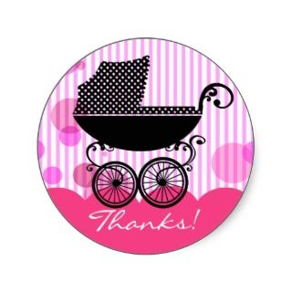Elegant Retro Baby Carriage   Baby Shower Sticker